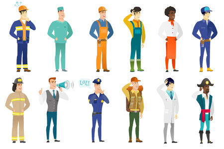 laugh out loud: Vector set of professions characters. Illustration