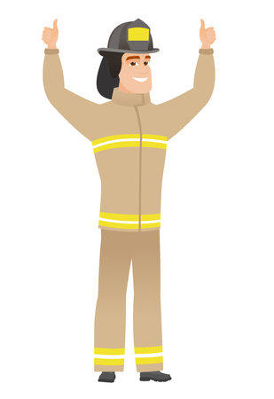 Firefighter standing with raised arms up. Vectores
