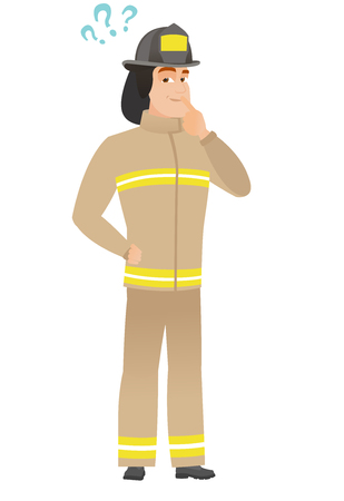 Thinking firefighter with question marks. Illustration