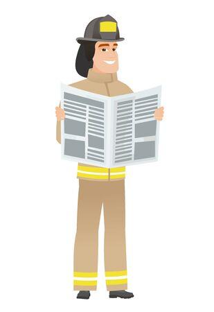 Firefighter reading newspaper vector illustration