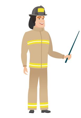 Caucasian firefighter holding pointer stick.