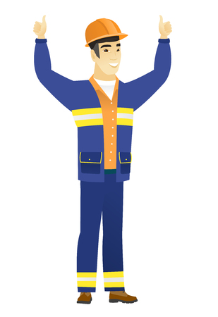 Builder standing with raised arms up.