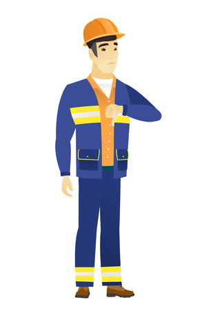 Disappointed asian builder with thumb down Illustration
