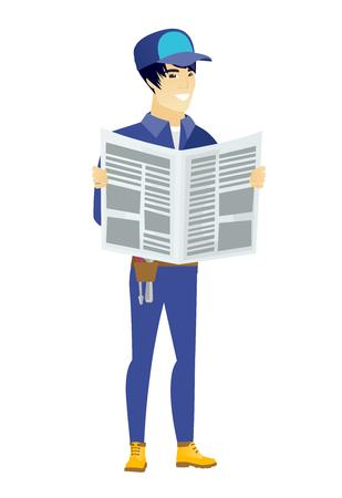 Mechanic reading newspaper vector illustration