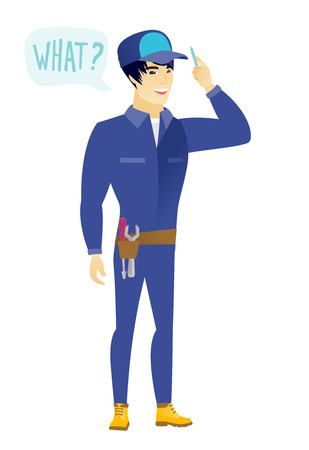 Mechanic with question what in speech bubble. Illustration