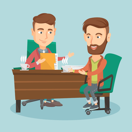 Two business men during business meeting. Illustration