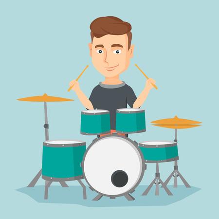 Man playing on drum kit vector illustration. Imagens