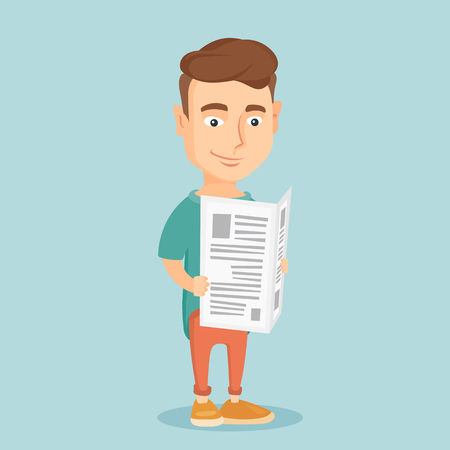 Man reading newspaper vector illustration.
