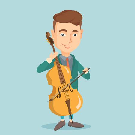 fiddlestick: Man playing cello vector illustration. Illustration