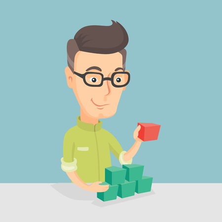 Adult caucasian man making pyramid of network avatars. Smiling man building his social network. Networking and communication concept. Vector flat design illustration. Square layout.