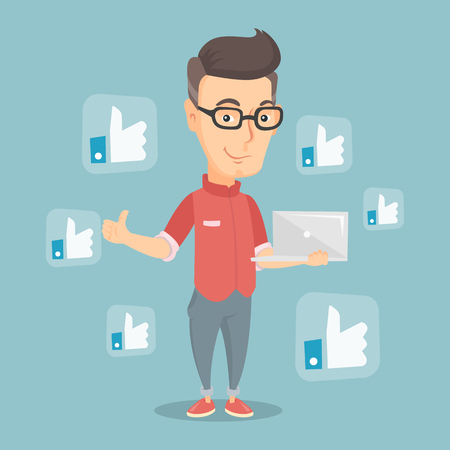 Man with like social network buttons. Illustration