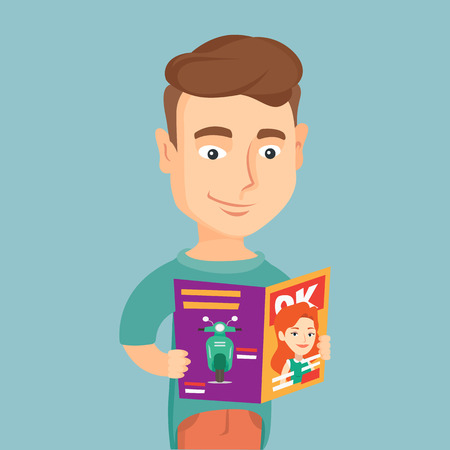 Man reading magazine vector illustration.