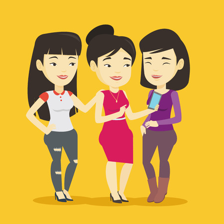 woman cellphone: Three smiling friends looking at mobile phone. Illustration