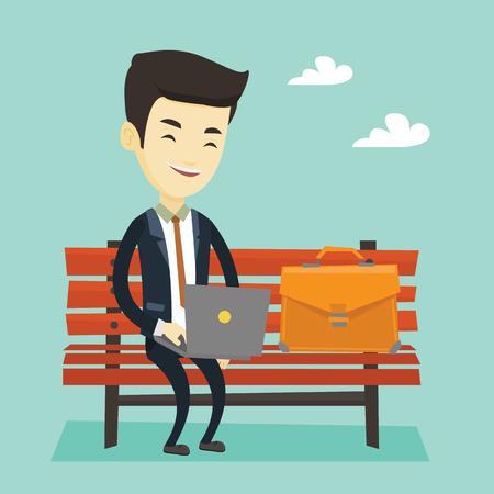 Business man working on laptop outdoor. Illustration