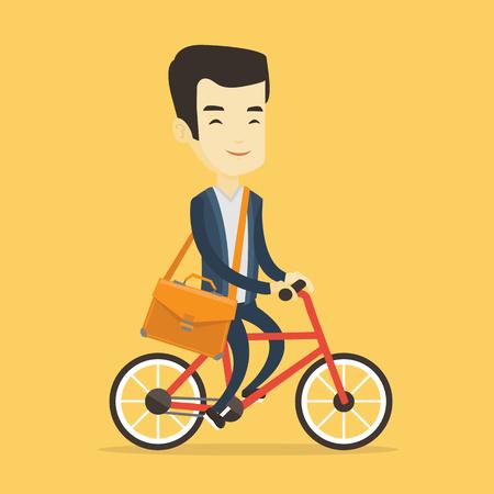 Man riding bicycle vector illustration.