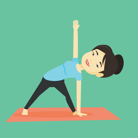 Woman practicing yoga triangle pose. Illustration