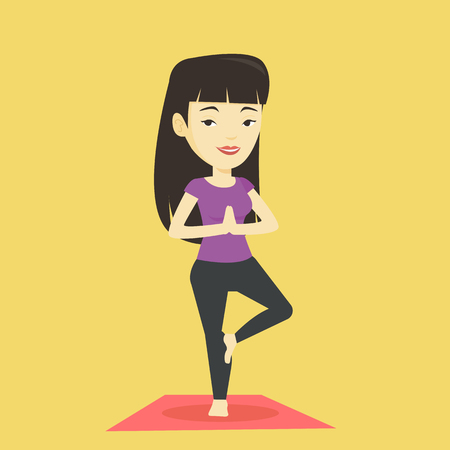 Young woman practicing yoga tree pose. Illustration