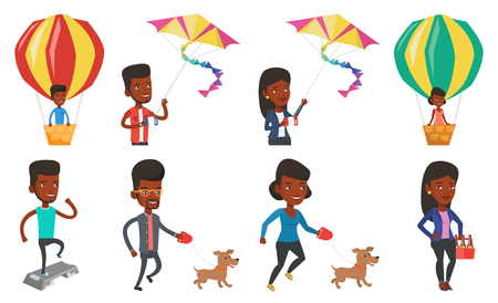 African young man with his pet. Happy man taking dog on walk. Man walking with his small dog. Smiling guy walking a dog on leash. Set of vector flat design illustrations isolated on white background. Illustration