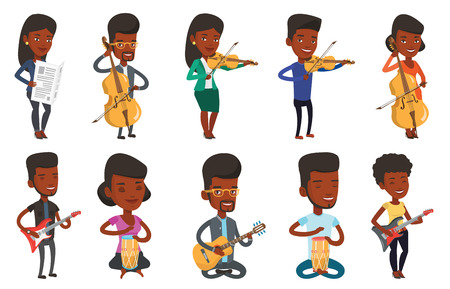 Young happy african-american musician playing cello. Cellist playing classical music on cello. Smiling musician with cello and bow. Set of vector flat design illustrations isolated on white background