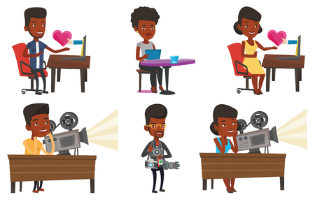 Man using laptop and dating online. Man looking for online date on the internet. Man dating online and getting virtual love message. Set of vector flat design illustration isolated on white background Illustration