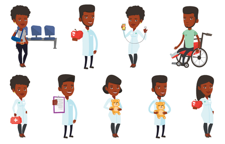 African pediatrician in medical gown. Pediatrician doctor holding a teddy bear. Pediatrician doctor standing with a teddy bear. Set of vector flat design illustrations isolated on white background.