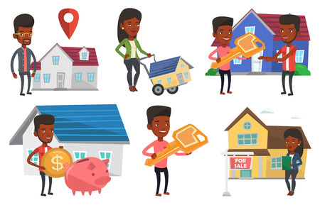 African-american house owner putting dollar coin in piggy bank on the background of house. Man investing money in real estate. Set of vector flat design illustrations isolated on white background. Illusztráció