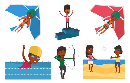 African-american sportsman with gold medal and raised hands standing on the winners podium. Man celebrating on the winners podium. Set of vector flat design illustrations isolated on white background. Illustration