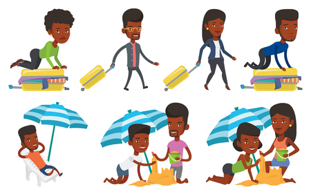people traveling: Vector set of traveling people.