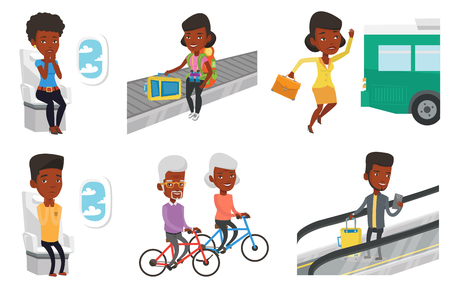 people traveling: Transportation vector set with people traveling.