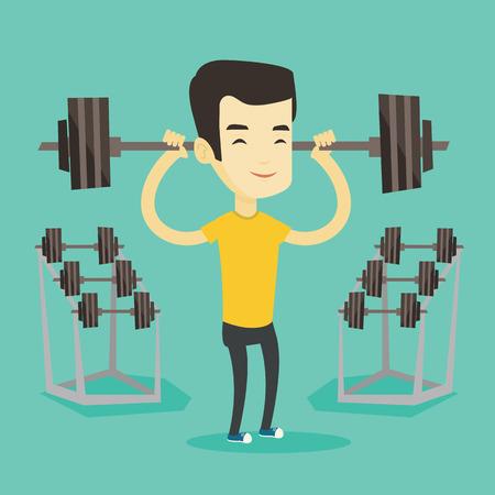 crossbar: Man lifting barbell vector illustration.