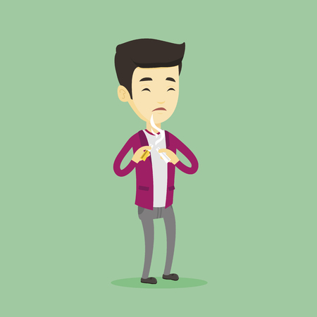 quit: Young man quitting smoking vector illustration.