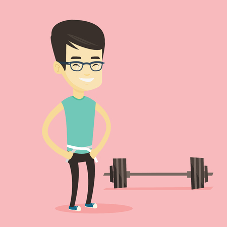 Man measuring waist vector illustration.
