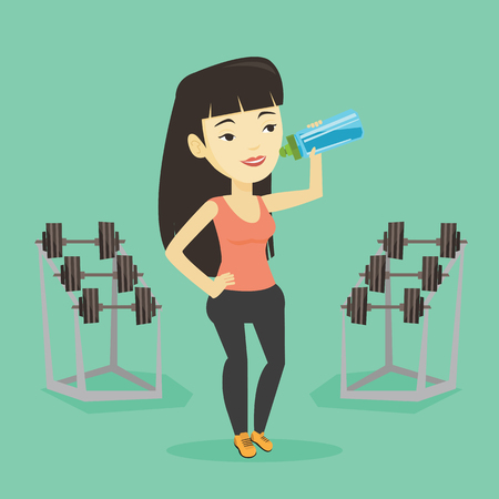 Sportive woman drinking water vector illustration. Ilustrace