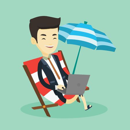 vacation with laptop: Business man working on laptop at the beach. Illustration