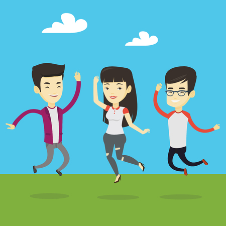 Happy group of young asian friends jumping in the park. Group of cheerful friends having fun and jumping outdoors. Friendship and lifestyle concept. Vector flat design illustration. Square layout.