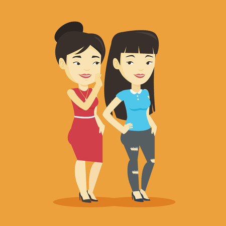 Young asian woman shielding her mouth and whispering a gossip to her friend. Two happy women sharing gossips. Smiling friends discussing gossips. Vector flat design illustration. Square layout. Illustration