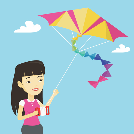 Young woman flying kite vector illustration. Illustration