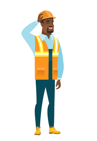 black man thinking: Young african-american builder scratching his head Illustration