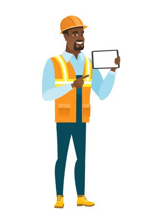 アフリカ系アメリカ人ビルダーがタブレット コンピューターを保持しています。  イラスト・ベクター素材