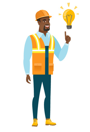 Builder pointing at bright idea light bulb. Illustration