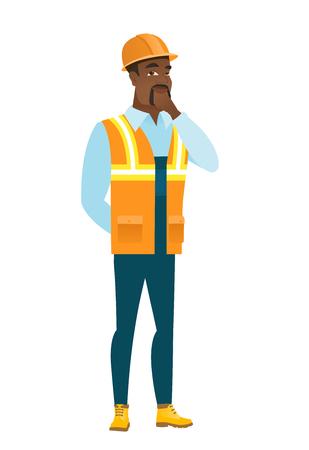 African-american builder thinking. Illustration