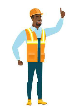 forefinger: African builder pointing with his forefinger.