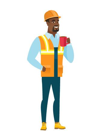 アフリカ系アメリカ人ビルダーが一杯のコーヒーを保持しています。
