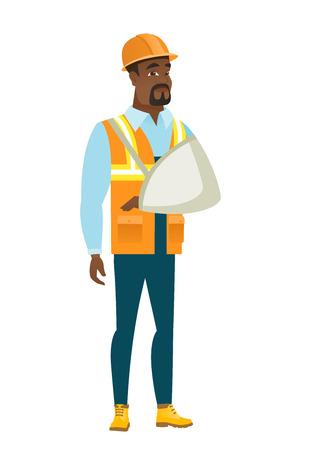 Injured builder with broken arm. Illustration