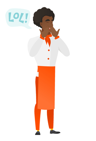 Chef cook in uniform laughing out loud. Illustration