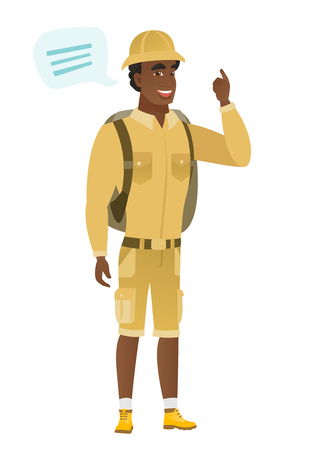 adventurer: Young african-american traveler with speech bubble