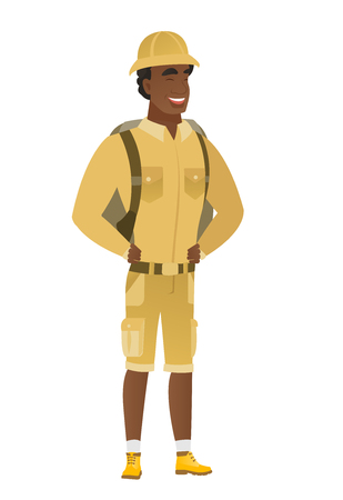 excited cartoon: Young african-american traveler laughing.