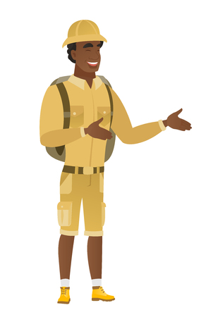 Young african-american happy traveler gesturing.