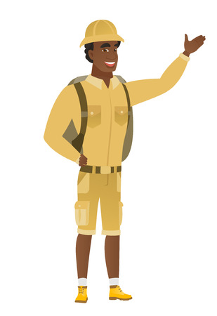 African-american traveler showing a direction.