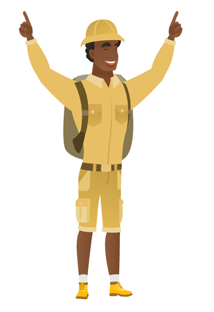 Traveler standing with raised arms up. Illustration